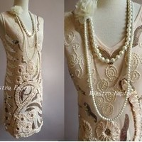 Great Gatsby Art Deco Nude Glam Flapper Sequin Charleston Evening Dress