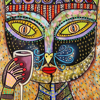 Black Cat Goddess Drinking Red Wine  by SandraSilberzweigArt