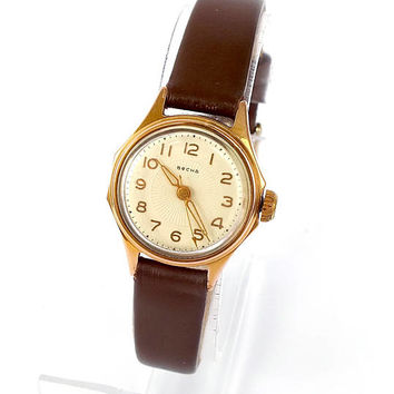 Rare Womens Watch Vesna Spring 16 Jewels. Mid Century Mechanical  Watch For Women. Gold Plated Watch Womans Russian Antique Ladies Watch 50s