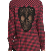 Red & Black Plaid Skull Top