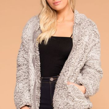 Chilled Out Charcoal Sherpa Zip-Up Hoodie Jacket