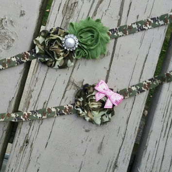 Camo Headband -  Army Girl -  Baby Headband -  Pink Bow -  army -  hair clip -  elastic