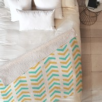 Allyson Johnson Sunshine And Mint Fleece Throw Blanket