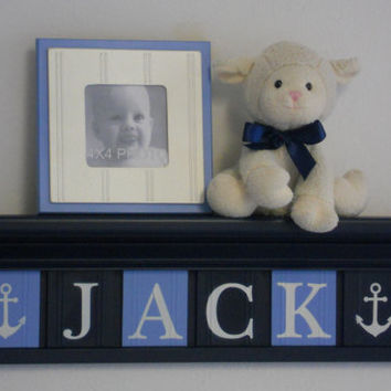 "Anchor Nursery Decor Baby Boy Blue / Navy Nautical - Anchor - Sea Decor, 24"" Navy Shelf with 6 Letter Plaques Personalized JACK with Anchors"