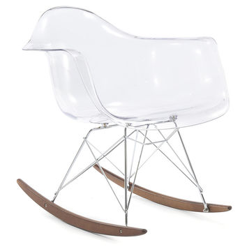 RockMoi Modern Rocking Armchair In Clear And Walnut Wood | Overstock.com Shopping - The Best Deals on Living Room Chairs