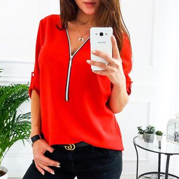 2018 Spring Casual Women Blouses Chiffon Summer Tops Deep V-neck Zipper White Shirts Fittness Long Sleeve Ladies Blusas feminina