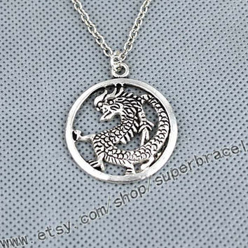 The Chinese dragon, the dragon necklace, Antique Silver necklace, express Personalized Jewelry, bridesmaid gift
