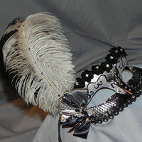 Floral Masquerade Mask in Black and Silver