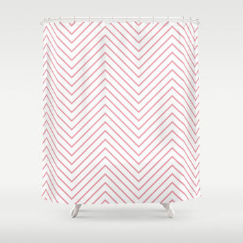 Shower Curtain - Pink Light Chevron - Pink Chevron Shower Curtain - Bathroom Shower Curtain - Black and White Shower Curtain - Fashion Decor