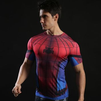 Spiderman T shirt Short Sleeve Men Fitness Bodybuilding Tee Shirts Spider Cosplay Rashguard Crossfit Clothing Workout Tshirt