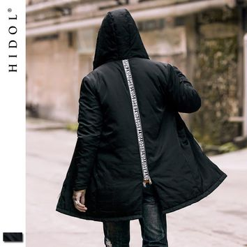Winter Thick Oversize Parkas Coat Longline Dovetail Hooded Letter Zipper Pocket Military Jacket Hip Hop Brand Clothing Men Kanye
