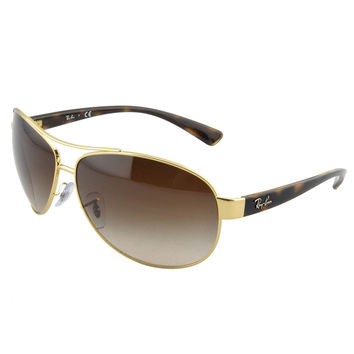 Ray-Ban RB 3386 001-13 63 Men's Aviator Gold Tone Metal Frame Brown Gradient Lenses Sunglass