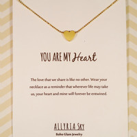 "Petite Gold Plated Heart Necklace with ""You Are My Heart"" Card 