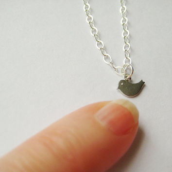 Silver Tiny Necklace, Sparrow Pendant, Sterling Silver, Mom Necklace, Big Sister Pendant, Best Friend Birthday Present. For Her Necklace.