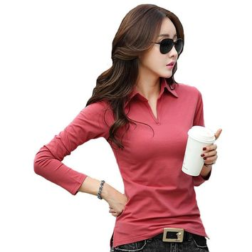 Spring Autumn Polo Shirt Women 2016 Long Sleeve Solid Slim Polos Mujer Shirts Tops Fas