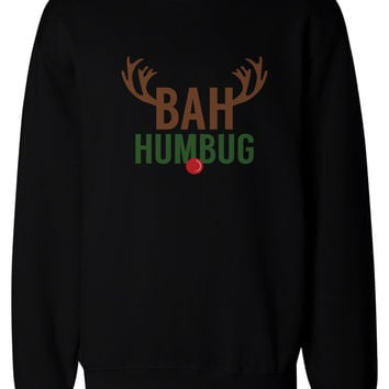 Bah Humbug Rudolph Christmas Sweat Shirts X-mas Pullover Fleece Crewneck Sweaters