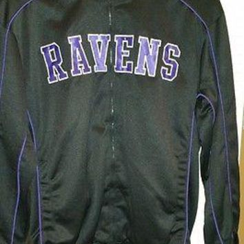 BALTIMORE RAVENS FULL ZIP Track Jacket BLACK G-III