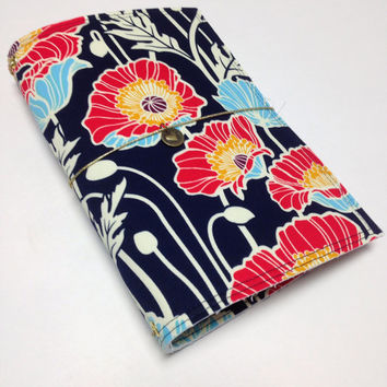 Fabric Fauxdori Travelers Notebook Travel Journal Planner Cover Midori cover Moleskine book style cover with charm- Navy with Poppies