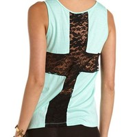 Lace Cross-Back Tank: Charlotte Russe