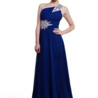 Moonar Chiffon One Shoulder Prom Formal Gown Full Length Party Bridemaid Dress DarkBlue Size 12