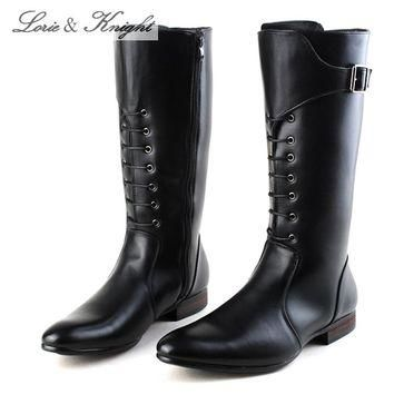 Classic Black Men British Motorbike Riding Boots Military Winter Boots Cowboy Martin B