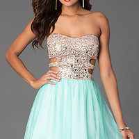 Short Strapless Sweetheart Dress with Side Cut Outs