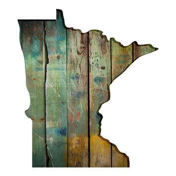 Minnesota Faux Wooden wall decal
