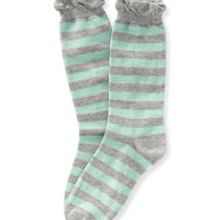 Aeropostale  Striped Ruffle Crew Socks