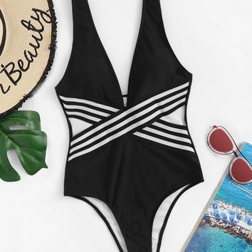 Criss Cross Striped Low Back One Piece Swimsuit