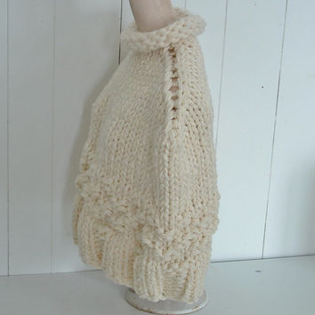 Cowl neck poncho capelet wrap one size fits most small medium women  in chunky knit cream