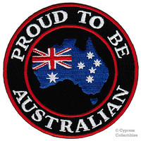 PROUD to be AUSTRALIAN patch embroidered iron-on Aussie Flag BIKER applique