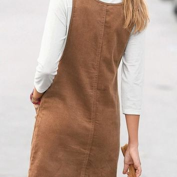 Khaki Plain Pockets Shoulder-Strap Cute Teens Corduroy Overall Skirt