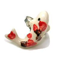 Ceramic Red Koi Fish Ring Red Brown and White Adjustable Silver Plated