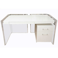 Fabulous Kagan Style White Lacquered and Lucite Desk with Original Lucite Pulls