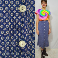 90s Button Front Skirt Blue Soft Grunge Hippie Vintage Womens clothing Medium 28 29 Crinkle Wrinkle Country Cute Girly Tiny Pattern