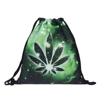 Who Cares galaxy weed 3D Printing backpack women Travel Drawstring bag mochila feminina backpacks Vogue Trend Line Brand Mochila