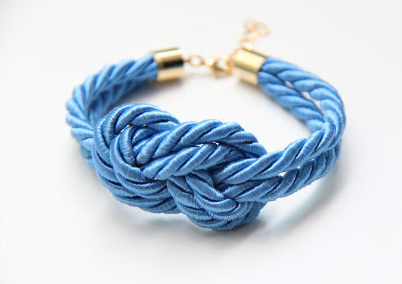 Pale Blue silk cord Bracelet  24k gold plated by TheUrbanLady