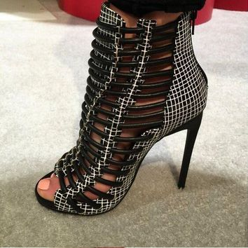Black Knit Mesh Gladiator Cuts Out Peep Toe Zip Back Ankle Sandals Boots