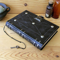 "Leather Journal / Blank Book with Lock and Key, Black Antiqued Leather - ""The Magic Book"""