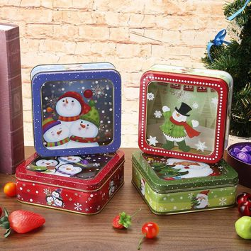 Christmas Metal Storage Candy Box Jar Snowman Box Tea Storage Organizer Box Biscuit Christmas Gift for Kids New Year Products
