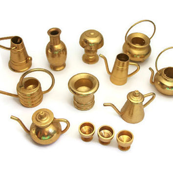 Vintage brass miniatures lot dollhouse from feltinmyheart for Kitchen set vessels