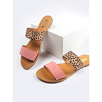 Leopard Two Band Sandals