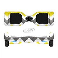 The Gray & Yellow Chevron Pattern Full-Body Skin Set for the Smart Drifting SuperCharged iiRov HoverBoard