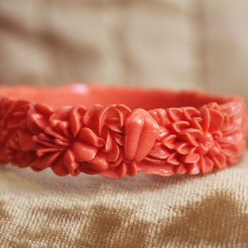 1930s Coral Carved Celluloid Bangle