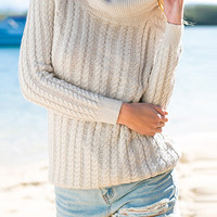 Scoop Back Turtleneck Cable Knit Sweater