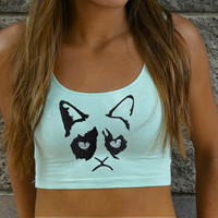 Embroidered Grumpy Cat Crop Top - American Apparel - Green