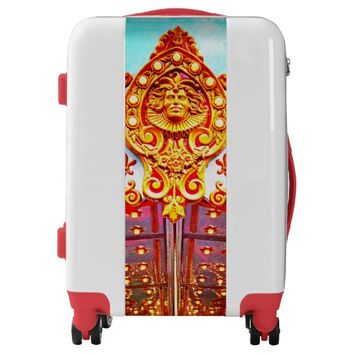 Sparkly carousel gold face photo luggage suitcase
