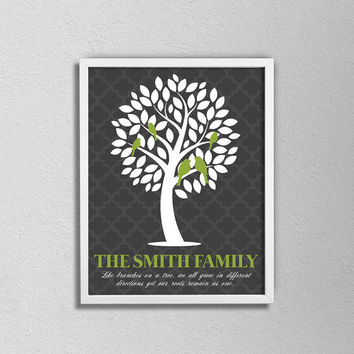 """Custom Personalized Family Tree Print. Birds in a Tree. Wedding Gift. Anniversary Gift. Family Art. Green, Gray and White. 8.5x11"""" Print."""