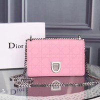 DIOR WOMEN'S CUSTOMIZED EMBOSSING LEATHER CHAIN SHOULDER BAG