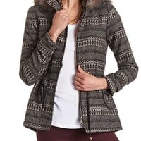 Hooded Fur Trim Tribal Jacket
